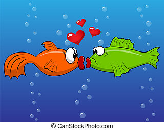 Fish love - Vector picture with kissing fishes
