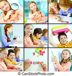 Schoolmates - Collage of schoolchildren studying in class