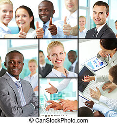Business collection - Collage of business people at work and...