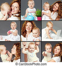 Woman and baby - Collage of happy woman and her small...