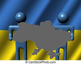 people holding Ukraine map sign flag - abstract people...