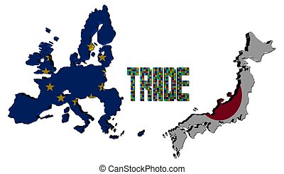 Trade text with EU and Japanese map flags illustration