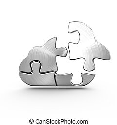 A metal cloud computing jigsaw with a detached piece