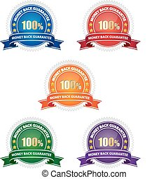 Money back guarantee seal - Set of colorful money back...