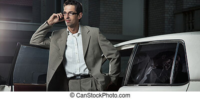 Handsome man speaking the phone