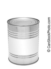 Metal tin can with blank label