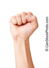 Clenched fist - Closeup of right male hand - raised up...