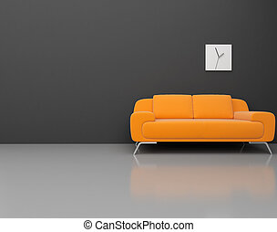 modern room - High resolution image 3d rendered illustration...