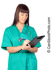 Happy doctor woman with clipboard