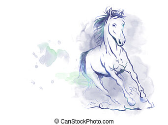 watercolor running horse - watercolored horse