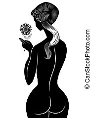 girl with flower - vector - Vector illustration naked girl...
