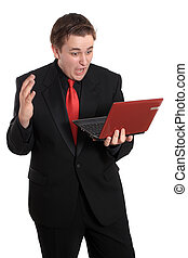 Man with small computer laptop - Handsome young businessman...