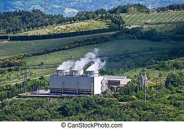 geothermal power plant - Tuscany produces electricity from...
