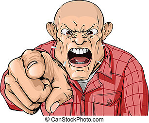Angry man with shaved head shouting and pointing - An angry...