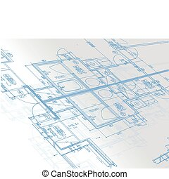 Sample of architectural blueprints over a light gray...
