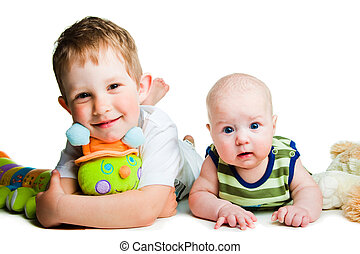 Portrait of cute 4-6 months baby and his 3 years old brother...