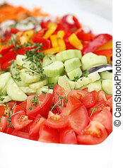 fresh salad with cucumbers and tomatoes - delicious served -...