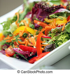 Mixed fresh salad of various vegetables - close up - square