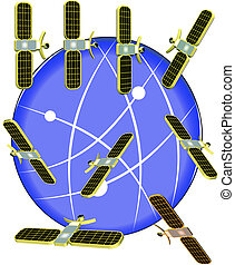 3d satellites - satellites in 3d circling the earth vector