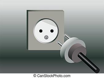 socket and Plug - drawn socket and lying near Plug on gray