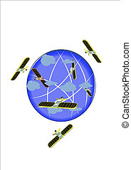 satellites above earth in cloud cov