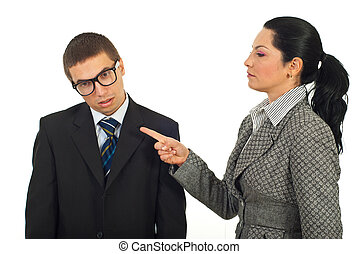 Manager woman accuse dump employee isolated on white...