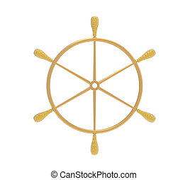 Ship steering wheel - Golden ship steering wheel isolated on...