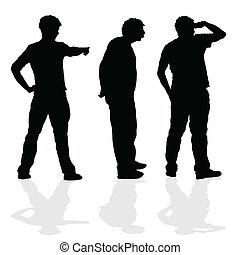 man of three silhouette standing