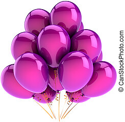 Purple helium ballons in a bunch - Balloons party birthday...