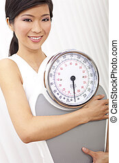 Oriental Asian Chinese Woman Holding Weighing Scales at Gym