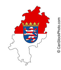 hessen map - isolated map of hessen region with flag