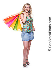 shopping woman - portrait of young woman with shopping bag