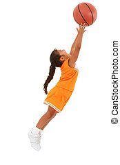 Adorable Girl Child in Uniform Jumping with Basketball -...