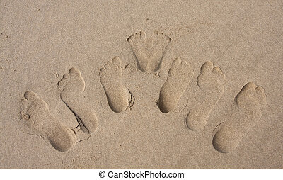 Footprints of a family in the sand on beach group imprint