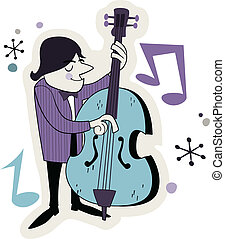 Retro Bass Player Cartoon