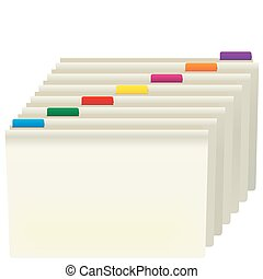 Manila Folders With Color Labels Isolated on White