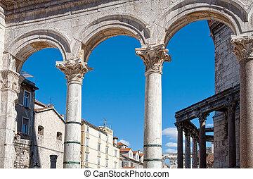 Roman architecture in Split, Croatia
