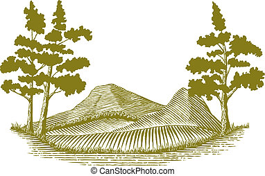 Woodcut Wilderness Scene - Woodcut style illustration of a...