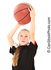 Adorable Girl Child Making Free Throw with Basketball -...