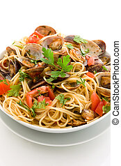 Pasta with Clams on white isolated background - photo of...