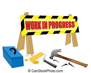 Work in progress scene, on white background, vector...