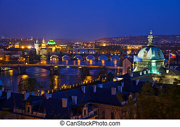 View on Prague Bridges - Prague bridges at night, Czech...