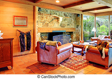Cowboy horse ranch living room - Cowboy ranch in Washington...