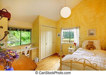 mantequilla, niños, amarillo, oso, dormitorio, bebé