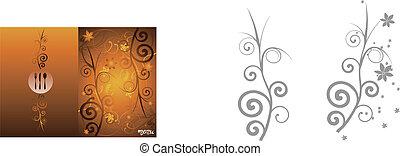 Golden floral vintage menu cover design