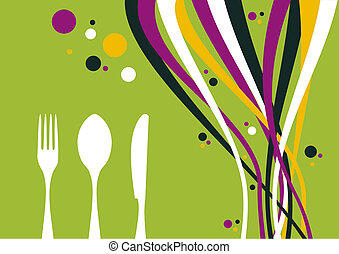 Fork, knife and spoon with multicolored waves background -...