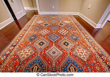 Beautiful antique rug with red and blue - Persian red rug