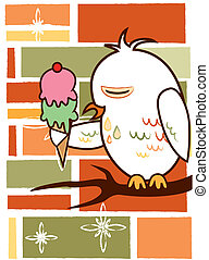 background owl - is a background of a owl eating ice cream