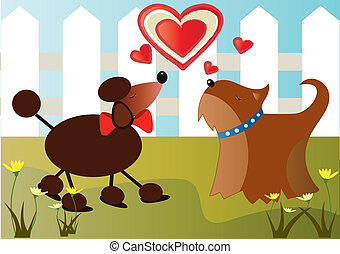 Dogs in love - is a couple of dogs in love