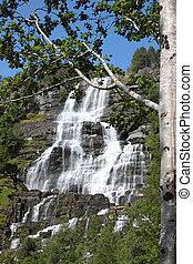 grande, cascada, fiordo, él, Noruega